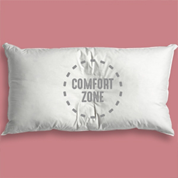 Comfort Zone imprinted on pillow