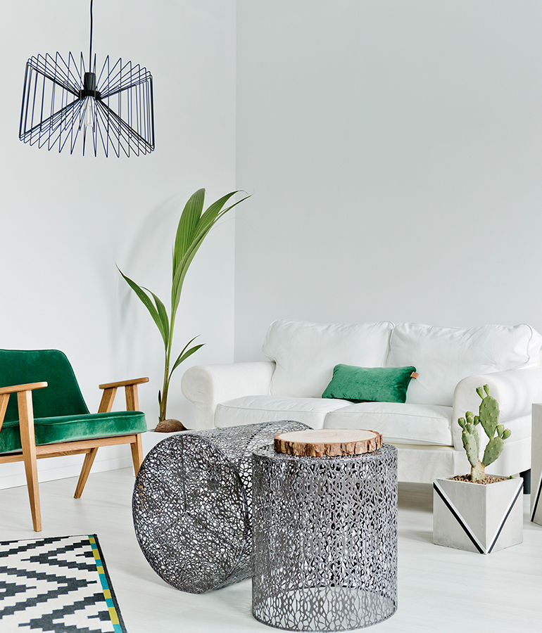 White Living Room With Couch