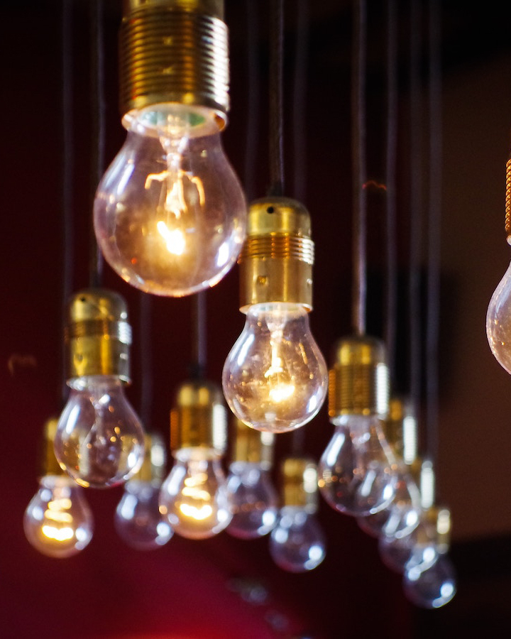 lit up lightbulbs
