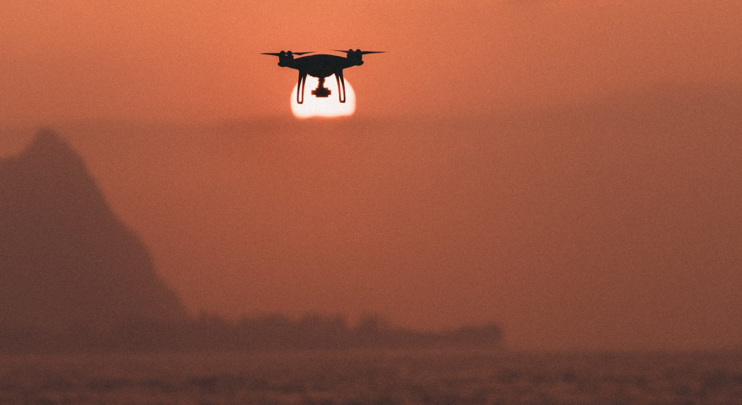 drone and sunset