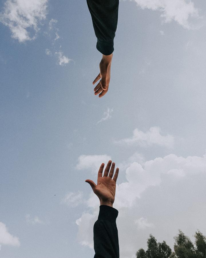 hands on a sky